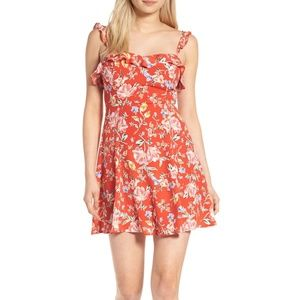 ASTR The Label Orange Red Floral Dress RuffleSmall